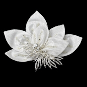 * Ornate Ivory Floral Hair Clip with Rhinestone Accentuations 9635