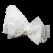 Silver Ivory Pearl & Rhinestone Accented Bow Hair Clip 9638