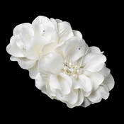 Ivory Pearl & Rhinestone Accent Bridal Flower Hair Clip 9640