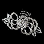Flower Rhinestone Petal Special Occasion Hair Silver Comb 9654