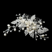 Ivory Flower & Pearl Hair Comb with Silver Pave Rhinestone Leaves 9657