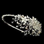 Freshwater Pearl Crystal & Rhinestone Flower Side Accented Headband in Silver 9616