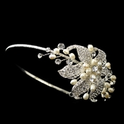 Silver Bridal Headband with Rhinestone & Ivory Pearl Side Accenting Flower 9618