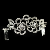 Sparkling Flower Rhinestone Covered Hair Comb Headband 9623