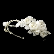 Ivory Floral Side Accented Bridal Headband in Silver 9624
