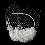 Elegant Ivory Floral Bridal Headband Blusher in Ivory Pearls & Sparkling Rhinestones HP 9661