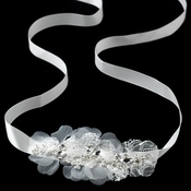 * Silver Ivory Lace & Rhinestone Accent Headband Headpiece 9665