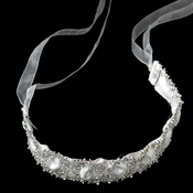 * Sparkling Rhinestone Circle Ribbon Bridal Headband or Belt 9669