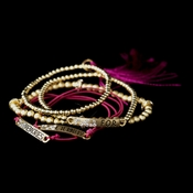 "Gold Fuchsia Tassel Fashion ""Memories for Eternity"" Bracelet 8818"
