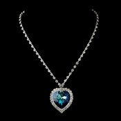 Silver Blue Crystal Heart Necklace 71245