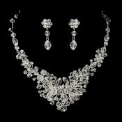 Silver Clear Rhinestone & Crystal Bridal Jewelry Set 9707