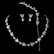 Silver Clear Rhinestone Necklace, Earrings, Bracelet 3 Piece Bridal Butterfly Jewelry Set NE 2876 & B 2876