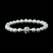 Light Blue Glass Pearl Pave Ball Bridal Bracelet 720