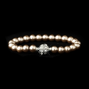 Light Brown Glass Pearl Pave Ball Bridal Bracelet 720