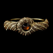 Gold Topaz Crystal Bridal Beach Seashell Bangle Bracelet 8662