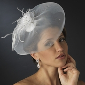 * Fine Tulle Visor Bridal Hat with Feather Flower Accent Attached to Comb 2174