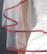 Double Tier Veil with Red Satin Ribbon Edge V 655