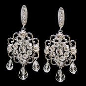Antique Rhodium Silver Clear Swarovski Crystal Bead & Rhinestone Earrings 9863