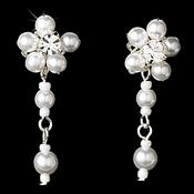 Silver White Floral Pearl Dangle Earrings 8001