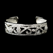 Antique Silver Clear CZ Crystal Bridal Bangle Bridal Bracelet 8670