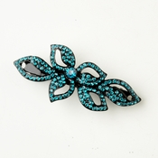 Black Teal Crystal & Rhinestone Leaf Barrette 9237