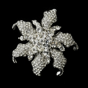 * Antique Silver Clear Rhinestone Flower Bridal Brooch 181