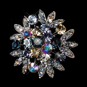 Antique Silver Multi Rhinestone Bridal Brooch 185