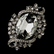 Antique Silver Clear Rhinestone Vintage Bridal Brooch 30586