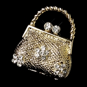 * Gold Clear Rhinestone Bridal Purse Brooch 77