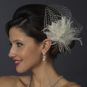 * Rhinestone & Crystal Bead Feather Flower Fascinator Hair Clip with Russian Tulle 2542