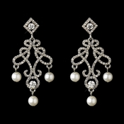 Silver White Pearl & Rhinestone Dangle Drop Bridal Earrings 22562