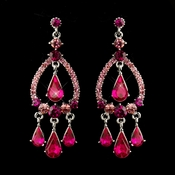 Silver Fuchsia Crystal & Rhinestone Chandelier Bridal Earrings 8686