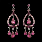 Silver Pink Crystal & Rhinestone Chandelier Bridal Earrings 8686