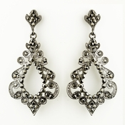 Antique Silver Smoked Rhinestone Chandelier Bridal Earrings 8688