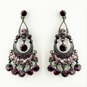 Antique Silver Amethyst Austrian Crystal Chandelier Bridal Earrings 9244 ***Discontinued***
