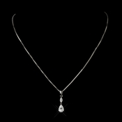 Antique Silver Clear CZ Crystal Drop Pendant Bridal Necklace 5090