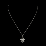 Silver Clear CZ Crystal Fleur De Lis Bridal Necklace 9250