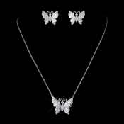 Silver Clear CZ Crystal Butterfly Bridal Necklace & Earrings Jewelry Set 9256