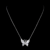 Silver Clear CZ Crystal Butterfly Bridal Necklace 9256