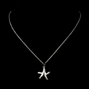 Silver Clear CZ Crystal Starfish Pendant Bridal Necklace 9257