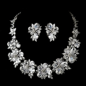 Silver Clear CZ Crystal Tear Drop & Marquise Crystal Necklace & Earrings Bridal Jewelry Set 1290