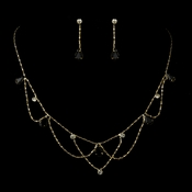 Gold Black Rhinestone Necklace & Earrings Bridal Jewelry Set 8000