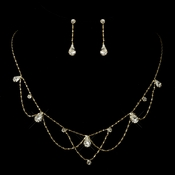 Gold Clear Rhinestone Necklace & Earrings Bridal Jewelry Set 8000