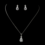 Silver Clear CZ Crystal  Pear Cut Tear Drop Crystal Necklace & Earrings Bridal Jewelry Set 8663