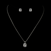 Antique Silver Clear Oval Cut CZ Crystal Necklace & Earrings Bridal Jewelry Set 8678