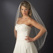 Bridal Wedding Single Layer Fingertip Length Crystals & Silver Vine Embroidery V 201 1F