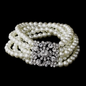 Pearl and Crystal Vintage Stretch Bracelet 8347 Ivory or White