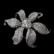 Large Silver Clear Flower Barrette 5