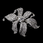 Small Silver Clear Flower Barrette 7