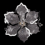 * Antique Silver Mesh Flower with Rhinestone Brooch 145